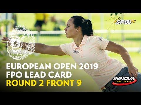 European Open 2019 FPO Lead Card Round 2 Front 9 (Pierce, Blomroos, Allen, Tattar)